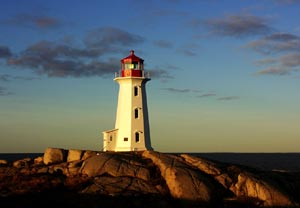 Lighthouse in Nova Scotia at Peggy's Cove, Nova Scotia, Canada - Photographer: Bob Jagendorf