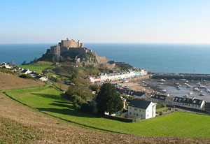 Castle of Mont Orgueil overlooking the harbour of Gorey in the parish of St. Martin, Jersey