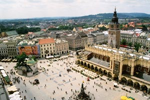 Market square seen from tower of St. Mary church- Krak?w, Poland