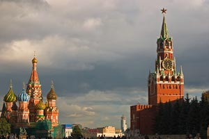 St. Basil's Cathedral and Spasskaya Tower of Kremlin, Red Square -Moscow, Russia