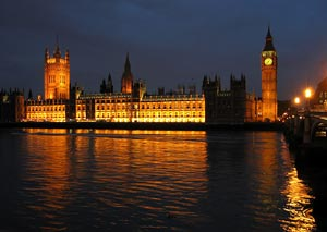 The Palace of Westminster at night seen from the south bank of the River Thames - Photographer: Andrew Dunn